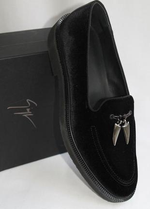 Брендовые лофера giuseppe zanotti wainer velvet loafer, европейский-44