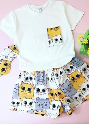 Стильная хлопковая пижамка в котики! все размеры