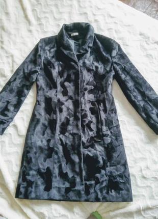 Прямое пальто из искусственного меха демисезон  размер  48-50