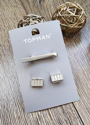 Набор запонки зажи булавка для галстука серебряного цвета