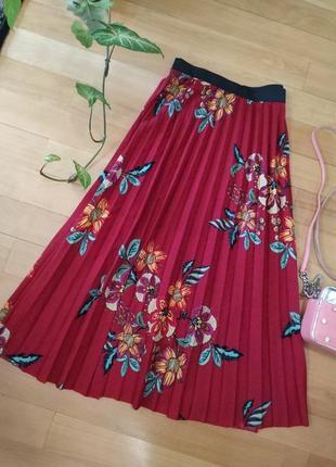 Роскошная юбка плиссе миди в цветочный принт papaya