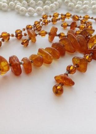 Колье (бусы), янтарь натуральный ,стекло, винтажные ссср, 60-е оды