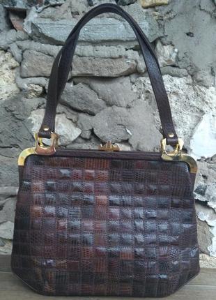Винтажная кожаная сумка ридикюль саквояж