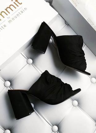 Sammit by white mountain черные замшевые босоножки сабо на широком каблуке