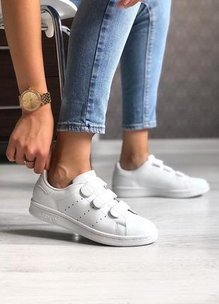 Adidas stan smith white шикарные женские кроссовки адидас стен смит белые на липучках