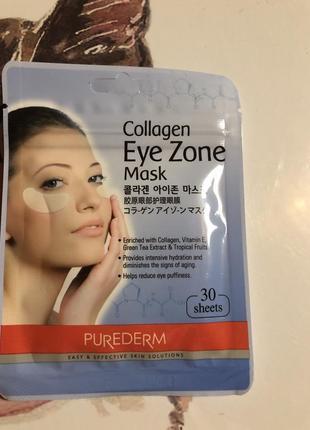 Тканевые патчи под глаза с коллагеном purederm collagen eye zone mask 30 шт