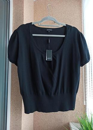 Вязаная трикотажная черная кофточка / свитер с коротким рукавом