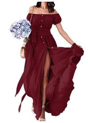 Шикарное платье celmia collection/открытые плечи/длинное платье на пуговицах
