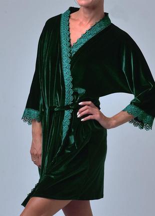 Mito халат женский зеленый бархат