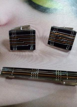Запонки и зажим ссср (латунь, люцит, стекло) винтажные в коробке