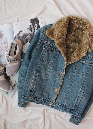 Супер теплая шерпа/джинсовая куртка/джинсовка с мехом утепленная nok nok/100% cotton