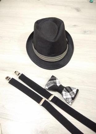 Фирменная мужская шляпа. шляпа дерби+ бабочка.