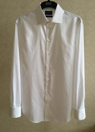 Белая рубашка с манжетами под запонки emporio armani