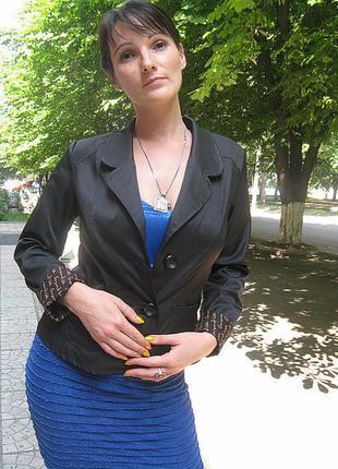 Пиджак черный на 2 пуговицы, размер 46
