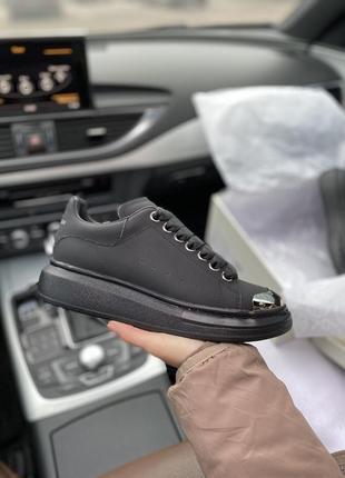 Alexander mcqueen black шикарные женские кроссовки александр маквин чёрные