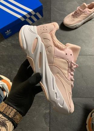 Женские кроссовки adidas yeezy boost 700 pink white