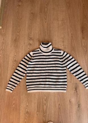 Полосатый свитер, кофта, гольф, шерсть альпака