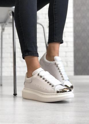 Alexander mcqueen white шикарные женские кроссовки александр маквин белые