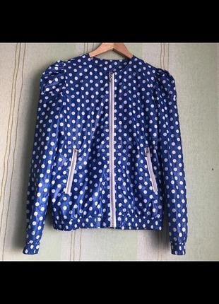 Ветровка,куртка,плащ,дождевик синяя в горошек