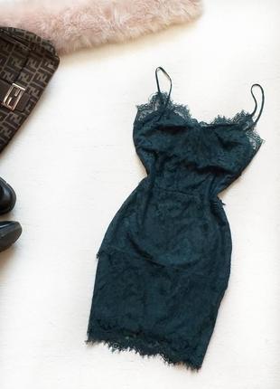 Секси мини платье кружевное на бретелях изумрудное гипюровое нарядное от topshop акция 🎁1 фото