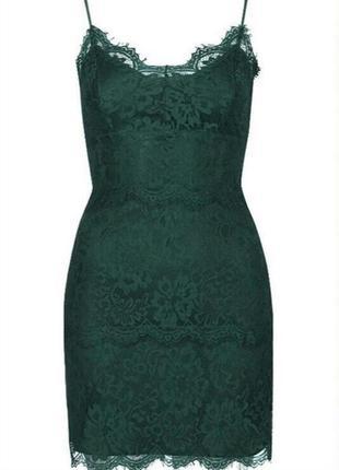 Секси мини платье кружевное на бретелях изумрудное гипюровое нарядное от topshop акция 🎁2 фото