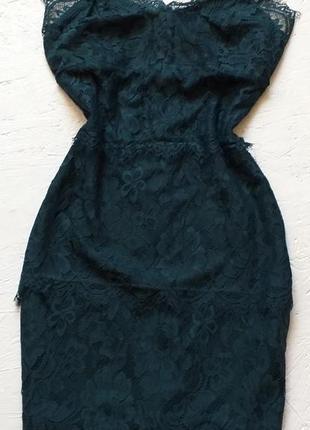 Секси мини платье кружевное на бретелях изумрудное гипюровое нарядное от topshop акция 🎁3 фото