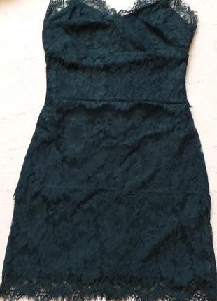 Секси мини платье кружевное на бретелях изумрудное гипюровое нарядное от topshop акция 🎁4 фото