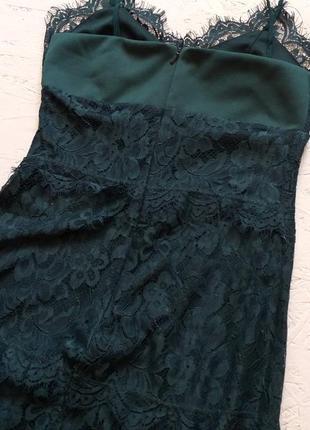 Секси мини платье кружевное на бретелях изумрудное гипюровое нарядное от topshop акция 🎁8 фото