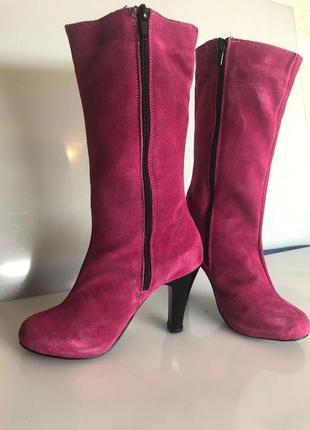 Розовые демисезонные сапожки из кожзама2 фото