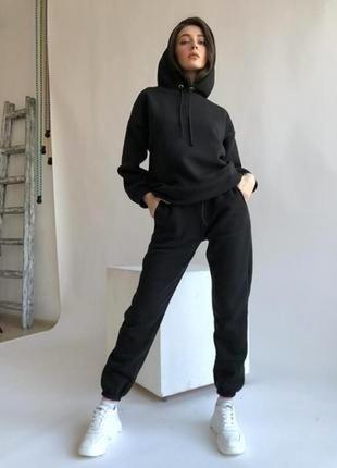 Черный теплый спортивный костюм на флисе размеры s m l