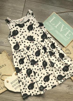 Платье с зайкам h&m 4-6л