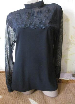 Нарядная хлопковая блуза с гипюром,турция