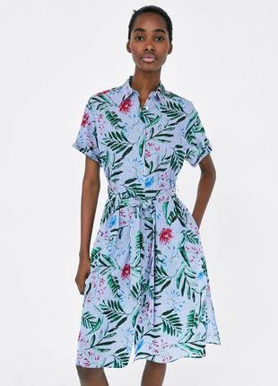 Платье-халат в цветочный принт s