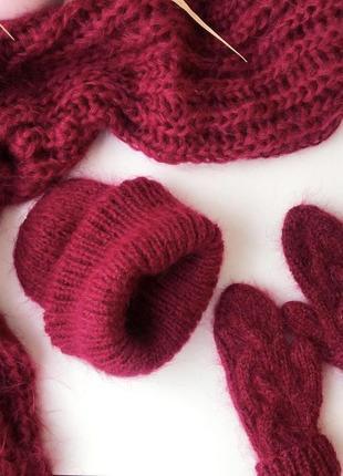 Уютный пушистый комплект из мохера:шапка,шарф в 2 нити☁️