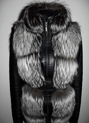 Кожаная куртка с чернобуркой трансформер , жилетка чернобурка р.s-хs