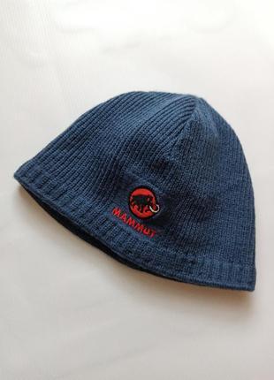 Синяя мужская вязаная шапка mammut маммут флис шерсть