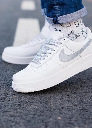 Nike air force 1 reflective шикарные женские кроссовки найк белые рефлектив1 фото