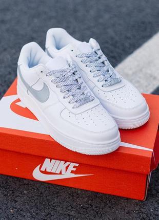 Nike air force 1 reflective шикарные женские кроссовки найк белые рефлектив3 фото