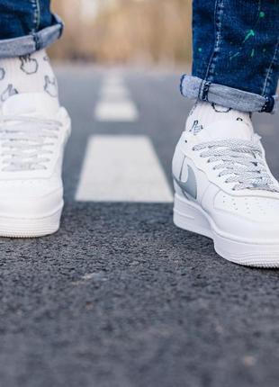 Nike air force 1 reflective шикарные женские кроссовки найк белые рефлектив5 фото