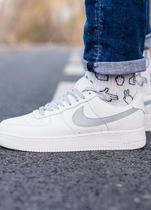 Nike air force 1 reflective шикарные женские кроссовки найк белые рефлектив4 фото