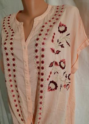 Тоненькая блуза 100% вискоза вышивка вышиванка