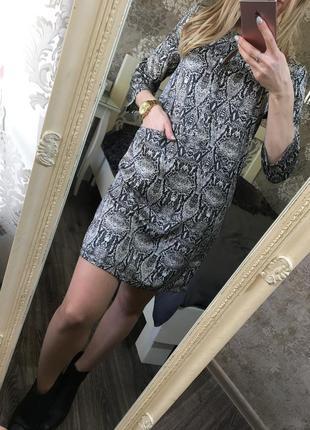Платье-рубашка zara в животный принт