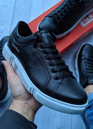 Мужские кожаные кеды(кроссовки) мажская обувь