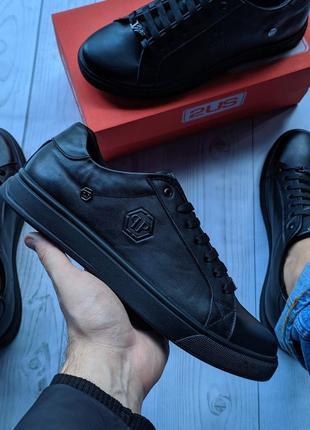 Philipp plein мужкие кожаные кеды (кроссовки,туфли) мужская обувь