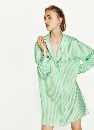 Крутое платье - рубашка в полоску zara натуральный состав