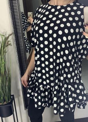 👚стильная чёрная блуза в горошек zara/блузка в горошек/чёрная блузка в горох с рюшами👚