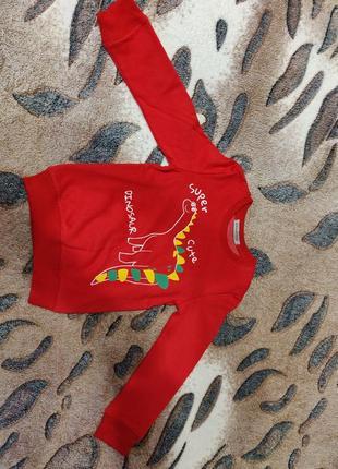 Красная кофточка з динозавром