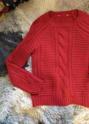 Светр свитер кофта яркая вязана вязанная красная
