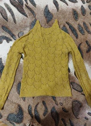 Желтая вязанная кофта