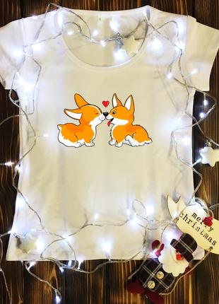 Женская футболка  с принтом - пара собачек